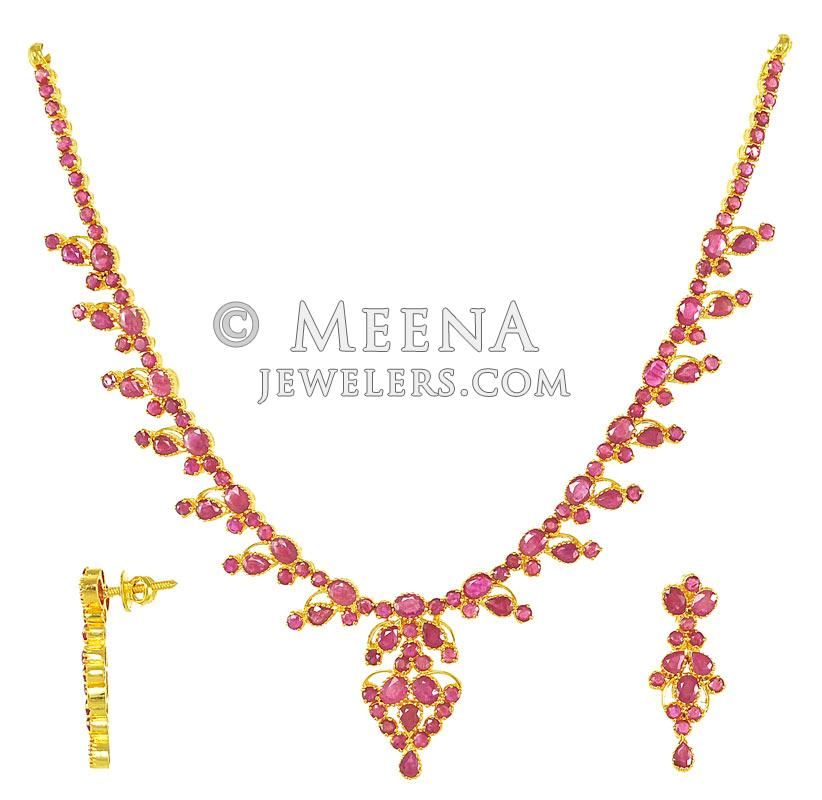 Gold Necklace And Earrings Set 22kt Indian Jewelry With: 22Kt Indian Jewelry (Ruby Necklace Set)