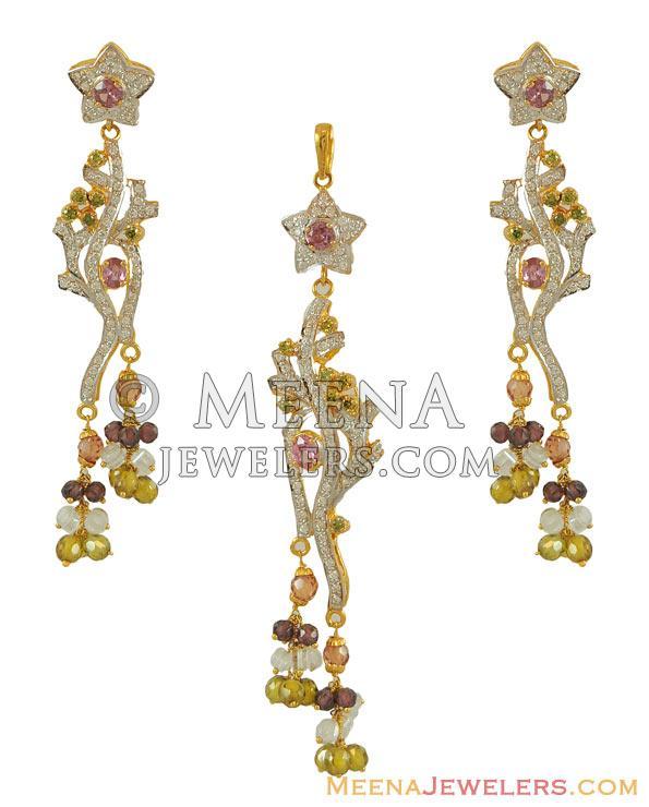 22k gold designer pendant set with cz psfc7177 us 1723 22kt 22k gold designer pendant set aloadofball Images