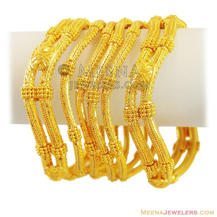22kt gold wavy bangles (set of 6) - BaSt12255 - 22k gold ...