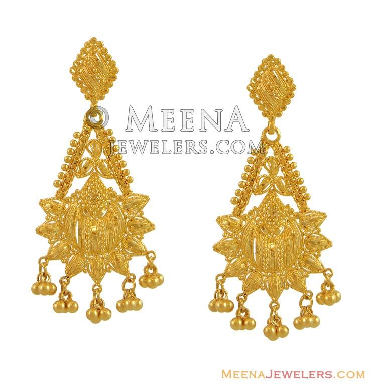 22k gold earrings india indian filigree earrings 22k gold erfc9955 22k 869