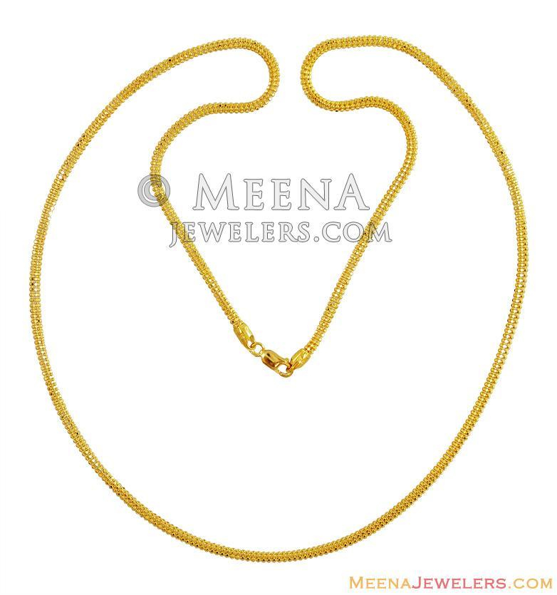 Plain Gold Chain 22k 24 In Chpl13901 22 Karat Plain