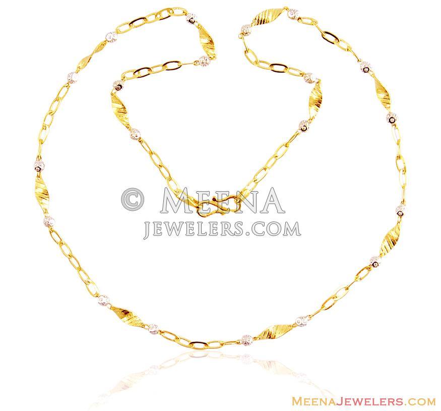 22k Fancy Light Weight Gold Chain - chfc15492 - US$ 599 - 22K Gold ...