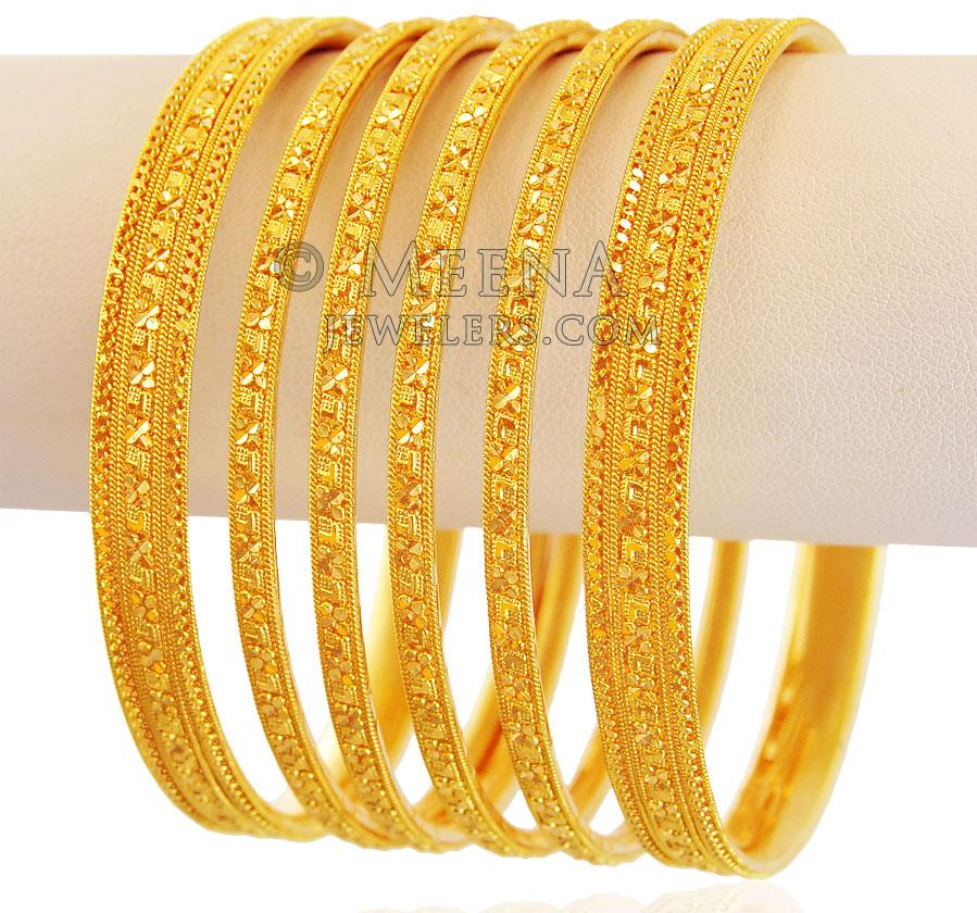 Indian Bangles Set 22K Gold - bast18072 - 22K Gold Bangles ...