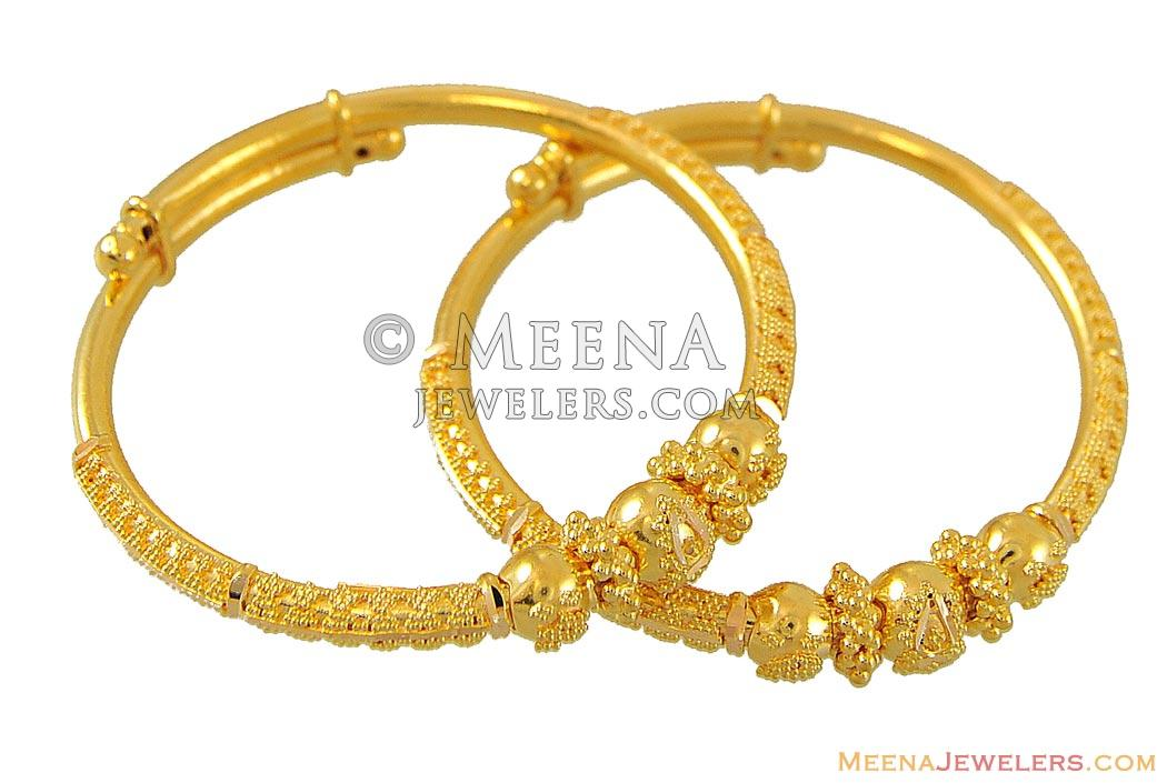 22Kt Filigree Bangles (kids) - BjBa8957 - 22kt Gold Indian ...