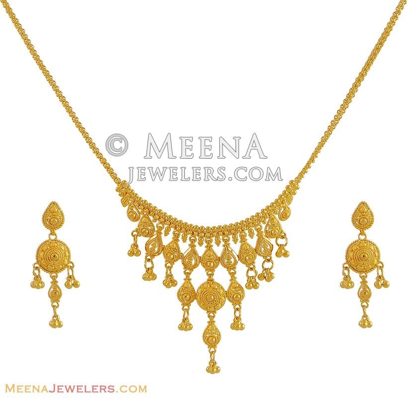 Gold Necklace And Earrings Set 22kt Indian Jewelry With: Indian Gold Necklace Set (22Kt)