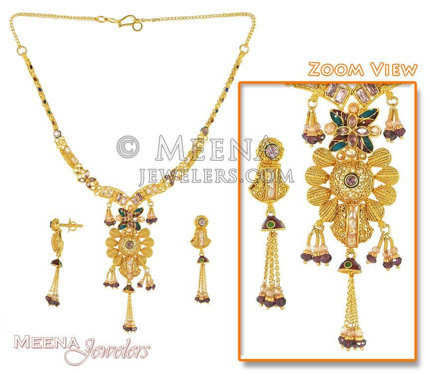 Antique 22K Gold Necklace Set - StAn2641 - Antique 22K Gold ...