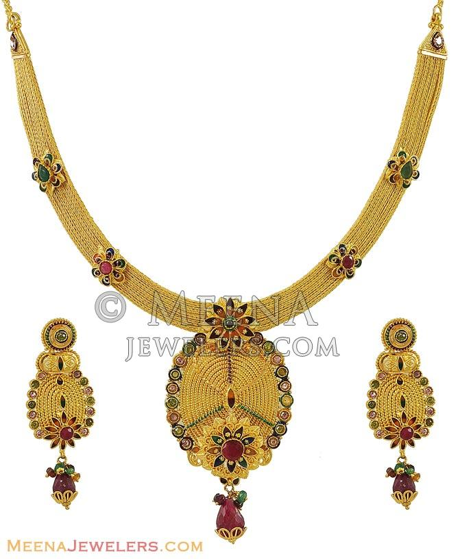 Gold Necklace And Earrings Set 22kt Indian Jewelry With: 22k Designer Necklace Set