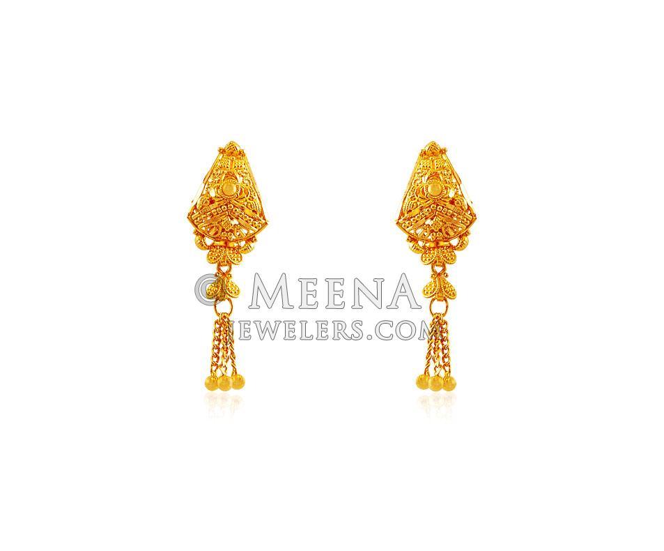 Indian Design 22k Earrings Ergt18140 22k Gold Filigree