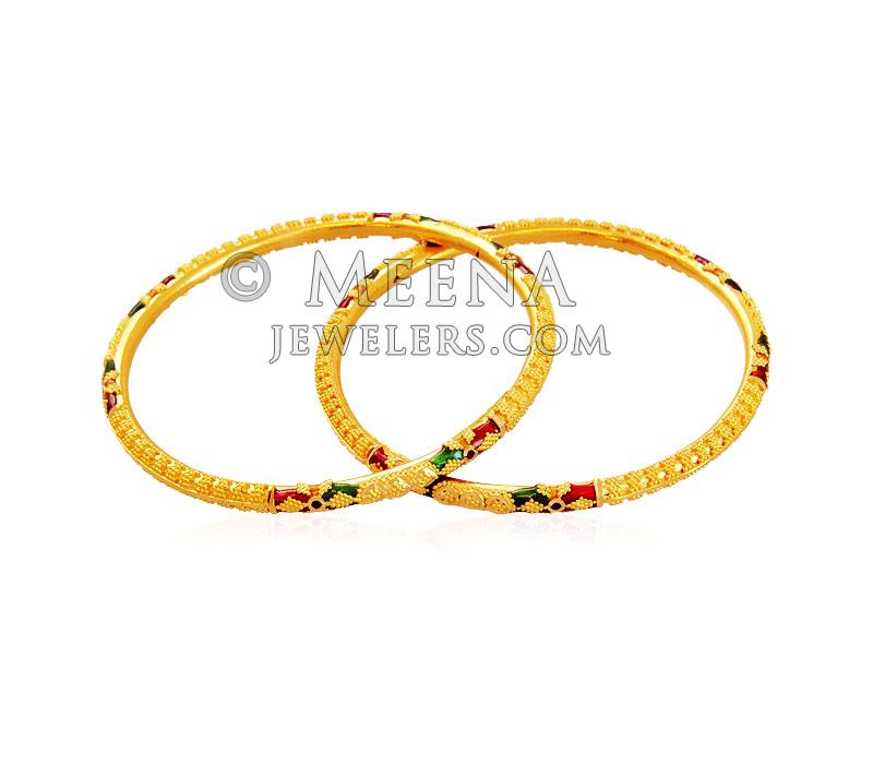 Meenakari Kids 22K Bangle (2 Pcs) - BjBa17525 - 22K Gold ...