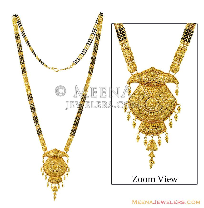 Long Filigree 22k Gold Mangalsutra Chms13051 22k Gold