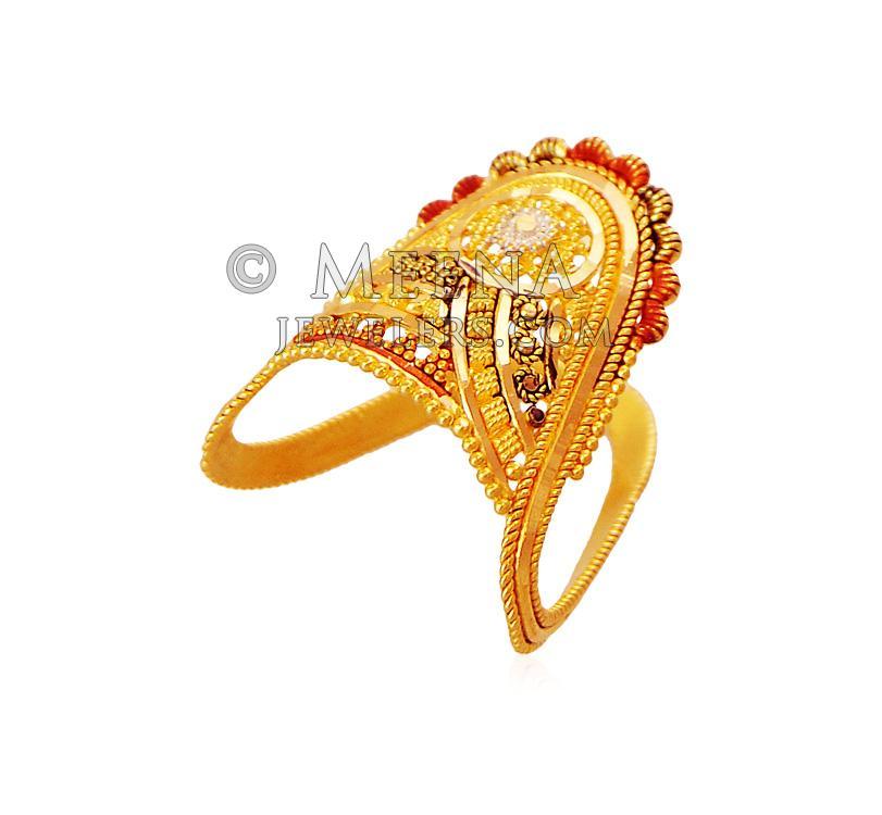 22k Gold Vanki Ring Rilg18441 22k Gold Ring Designed