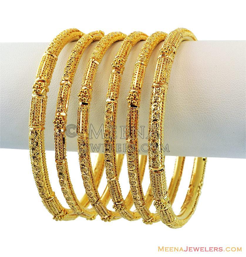 22k Yellow Gold Pipe Bangles Set - bast13038 - 22k yellow ...