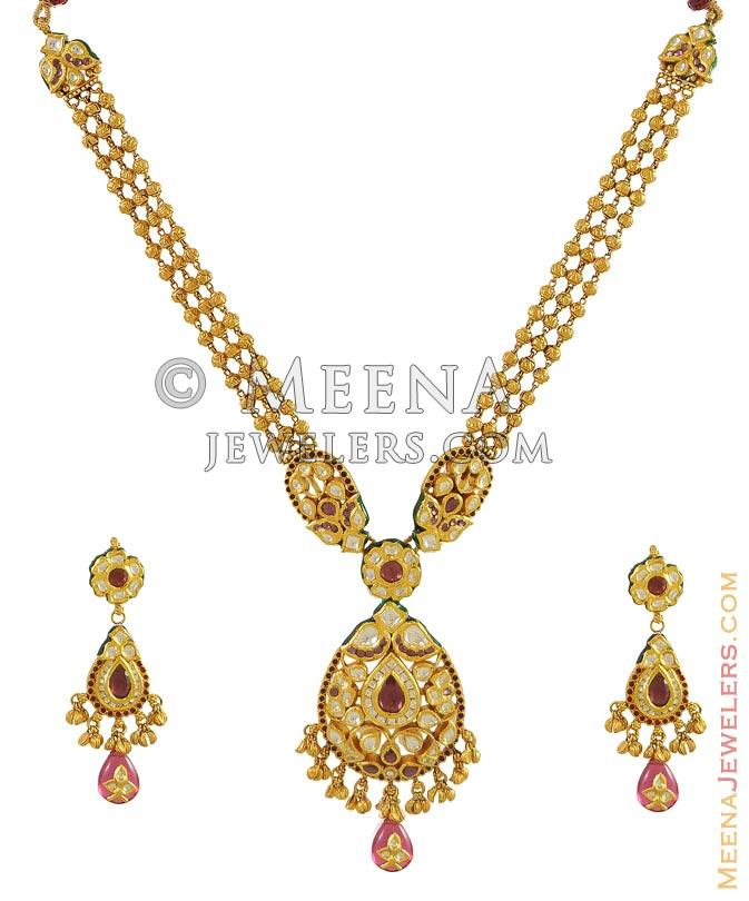 New Necklace Earring Set Gold Polki Jewellery Indian: 22Kt Gold Necklace And
