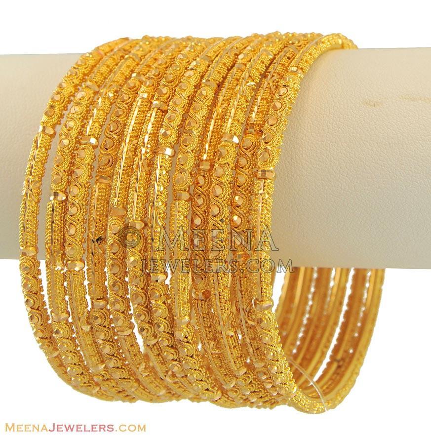 22K Gold Filigree Churis Set - BaSt10992 - 22k yellow gold ...