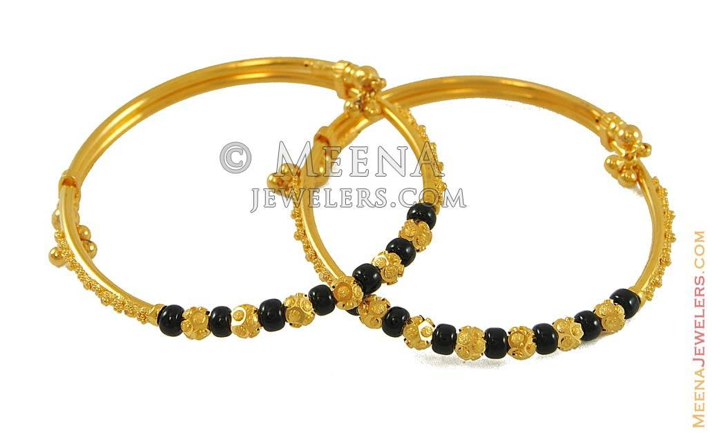 22k Black Beads Kids Bangle Baba7762 22k Gold Designer
