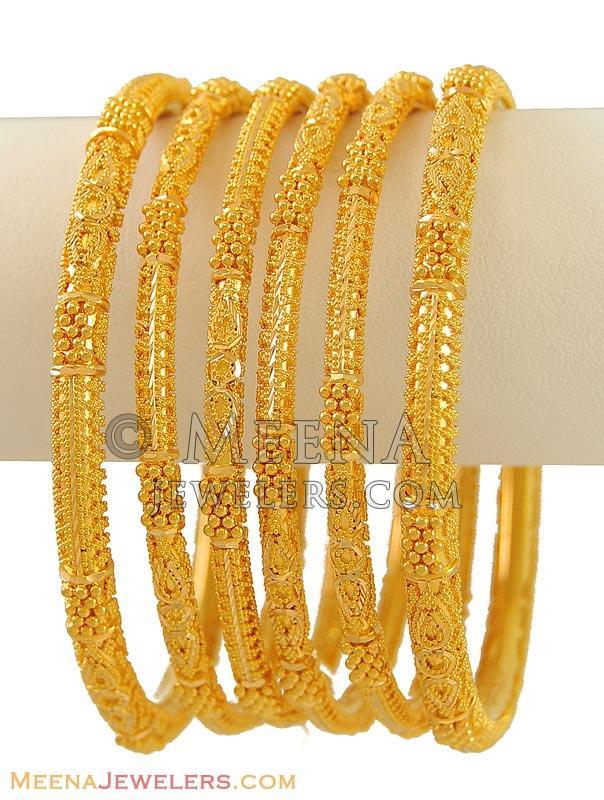 22k Gold Bangles Set Of 6 Bast9526 22 Karat Indian