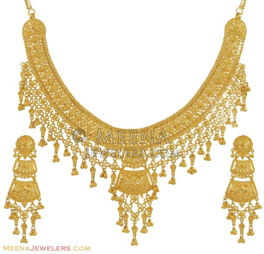 Gold Necklace And Earrings Set 22kt Indian Jewelry With: Indian Necklace Set (22K Gold)