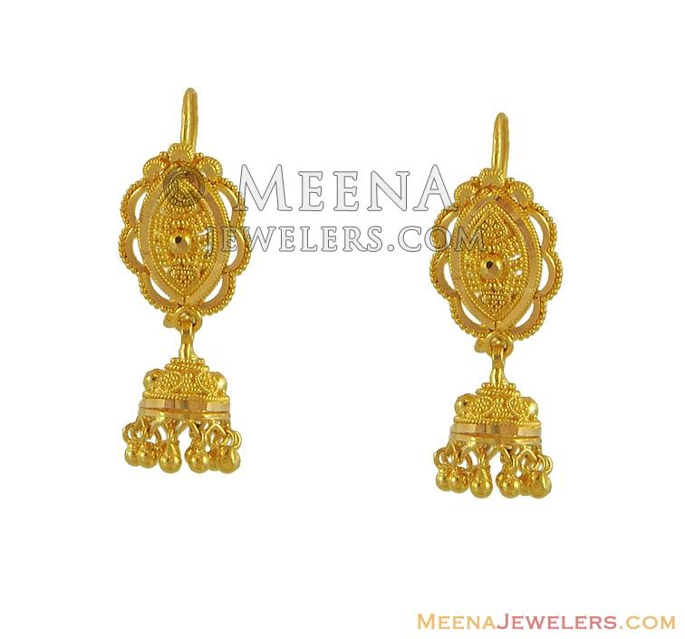 gold designer hanging earrings erfc8562 22kt gold