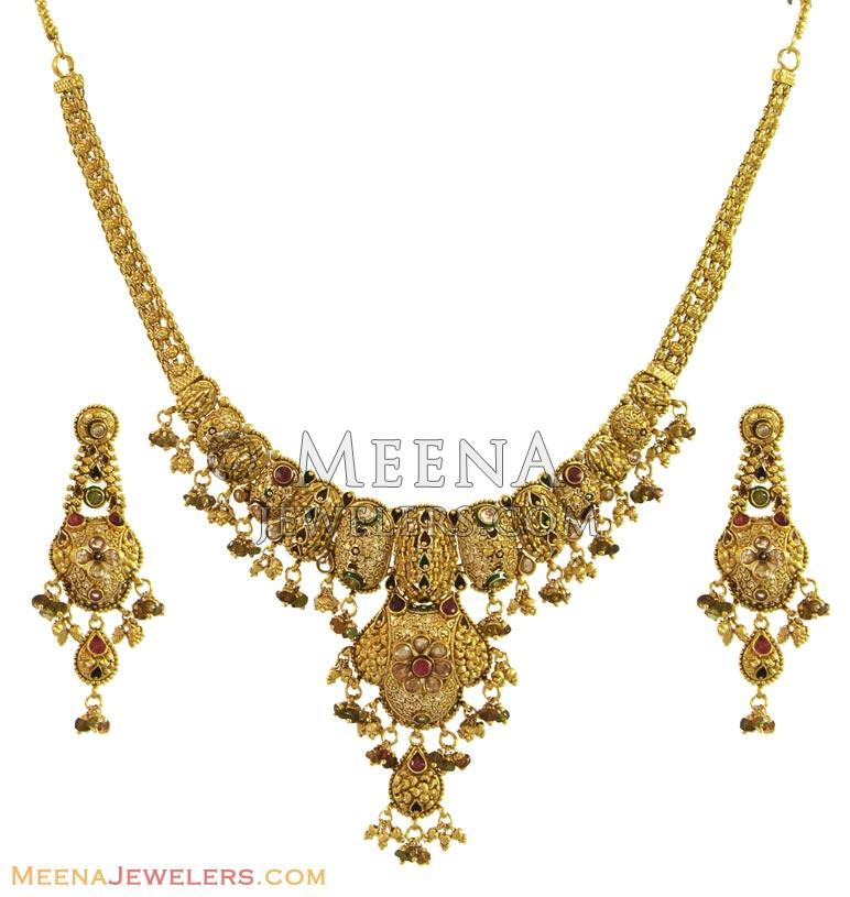Gold Necklace And Earrings Set 22kt Indian Jewelry With: Indian Antique Necklace Set (22Kt)