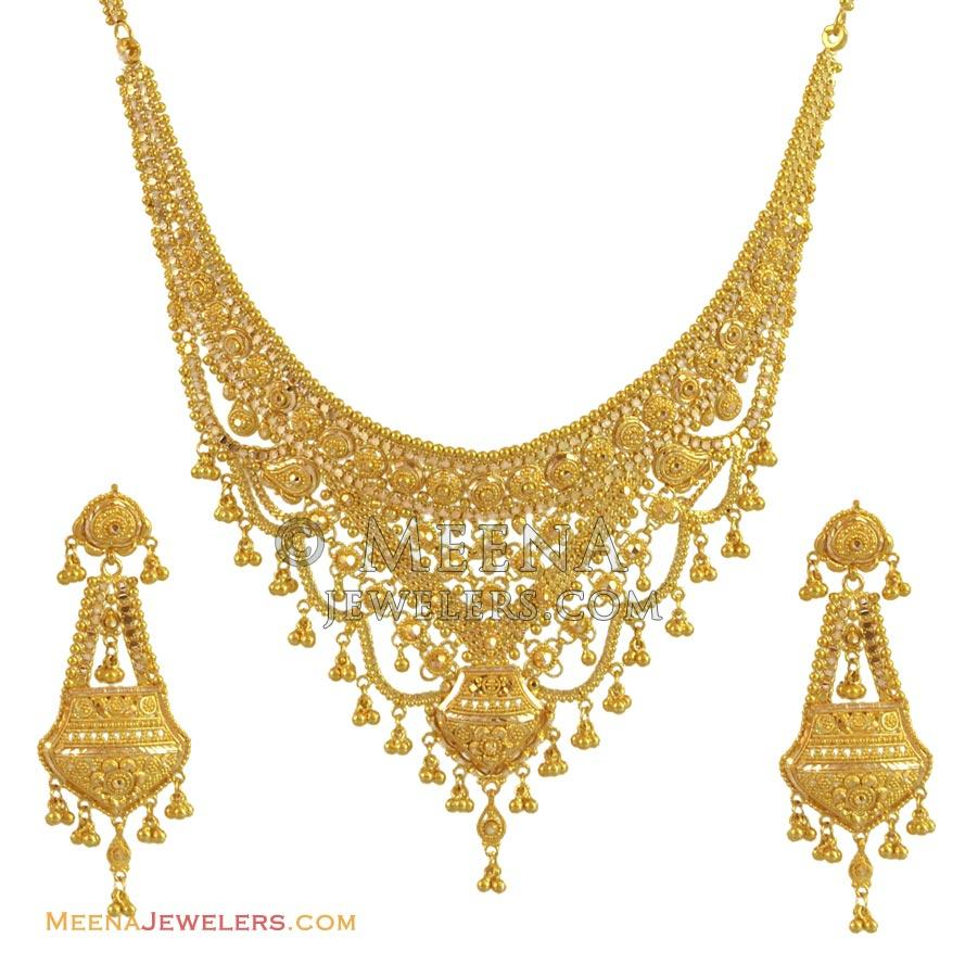 Gold Necklace And Earrings Set 22kt Indian Jewelry With: 22K Gold Necklace Set