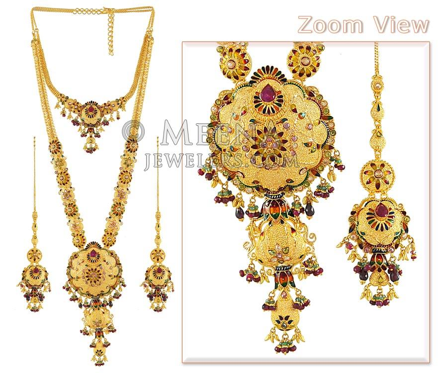 Indian Bridal Necklace Set 22k: Gold Bridal Indian Necklace Set ( With Stone And Meenakari