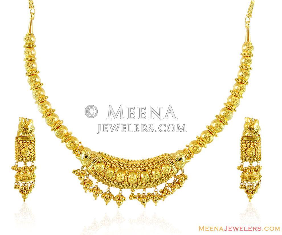 22k Traditional Indian Necklace Set - StGo15004 - 22K Gold ... - photo #27