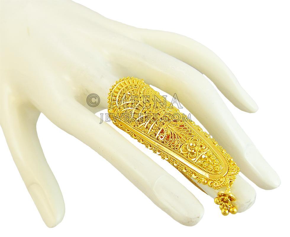 22k Gold Exquisite Long Ring Rilg18219 22k Gold