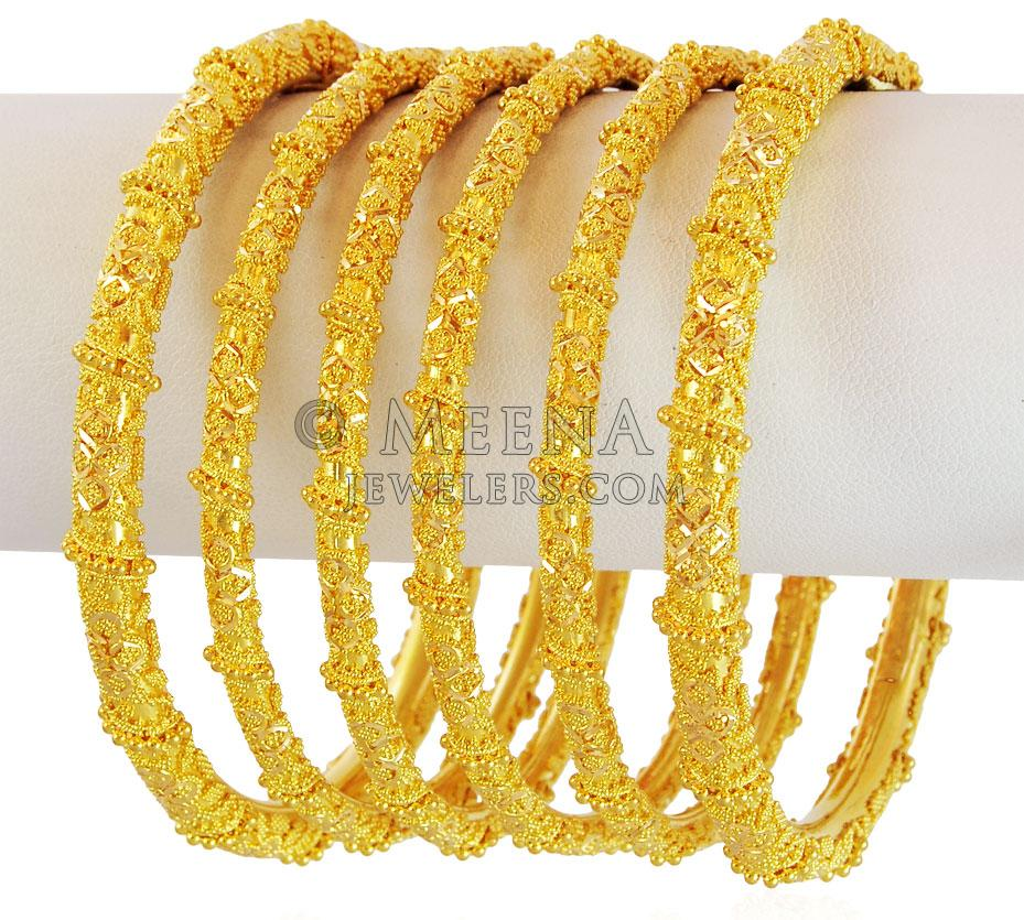22K Gold Bangles Set (2PCs) - BaSt17575 - 22K Gold bangles ...