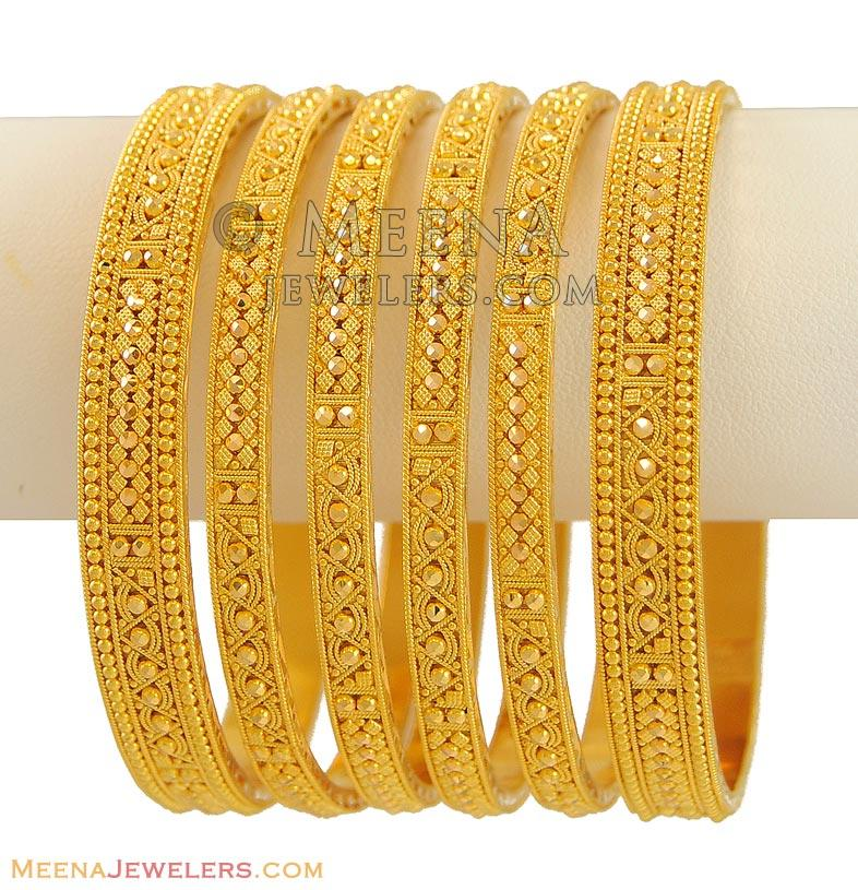 22Kt Indian Bangles (Set of 6) - BaSt9475 - 22Kt Gold ...