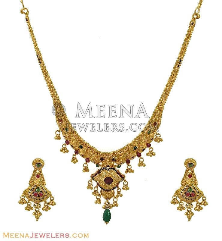 Vintage Solid 22k Gold Ruby Gemstone Necklace Earring: 22K Gold Ruby And Emerald Set