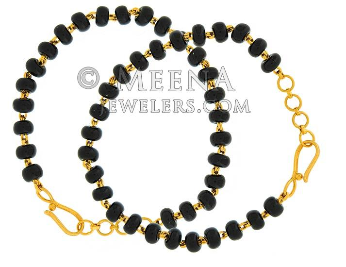 22k Baby Bracelet With Black Beads Bjbb4024 Us 598