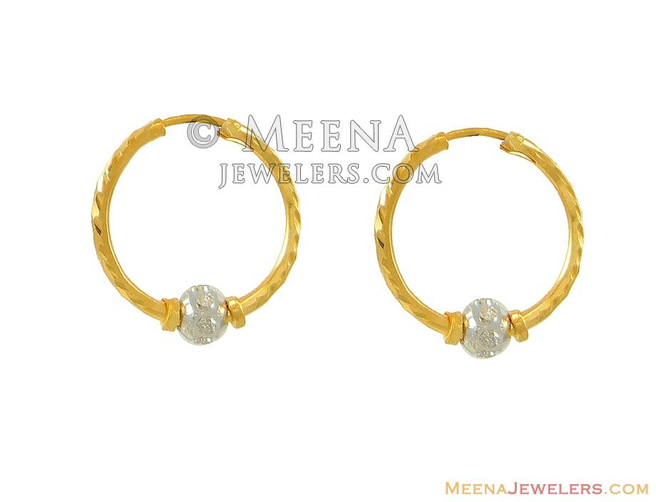 22k two tone baby hoops erhp8333 22k gold baby bali in
