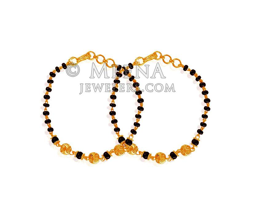 22k Black Beads Bracelet Babr19116 22k Gold Baby