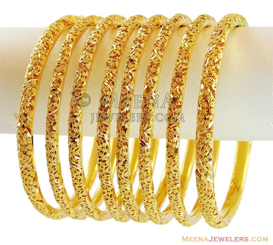 Bangles With Price: 22k Gold Filigree Bangles Set(4 Pc)