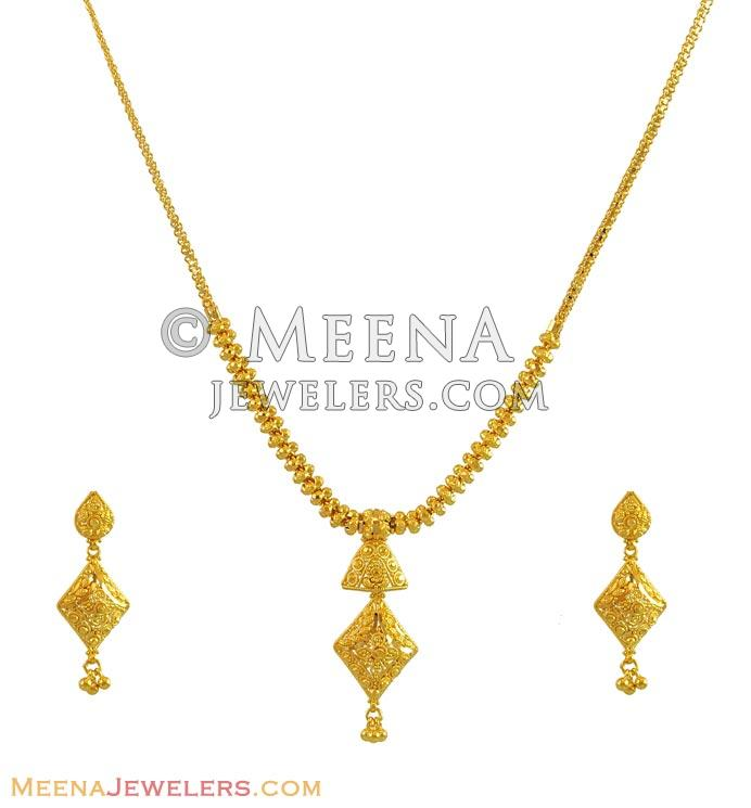 Gold Necklace And Earrings Set 22kt Indian Jewelry With: 22K Gold Necklace And