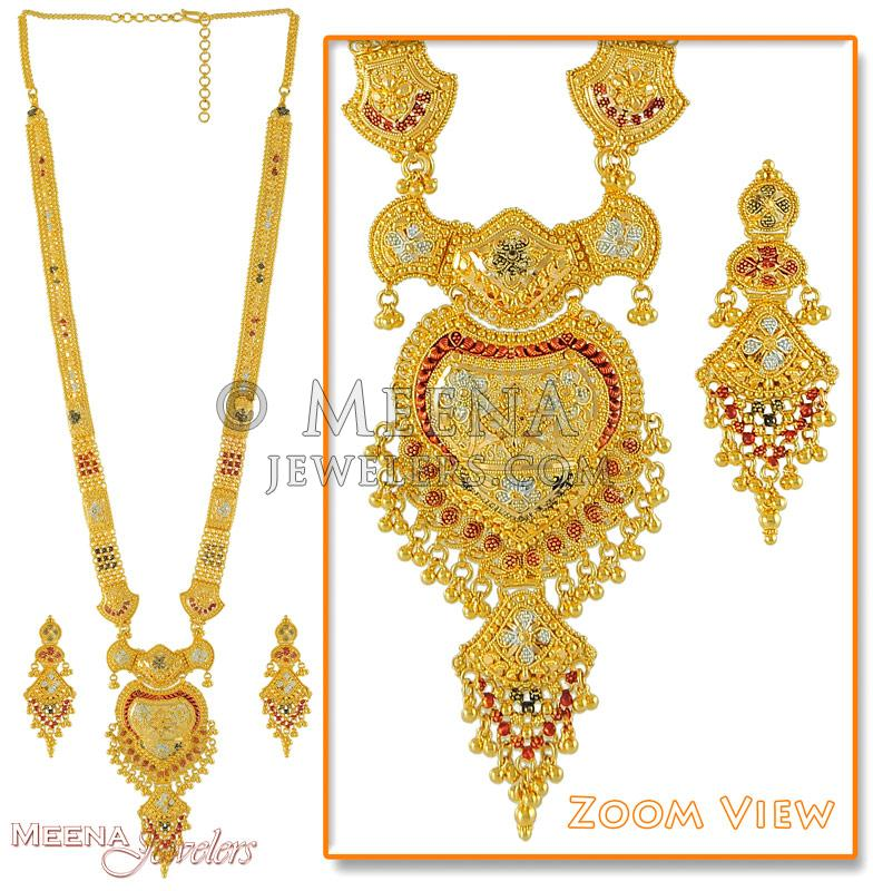 Indian Bridal Necklace Set 22k: 22K Gold Patta With Color Work