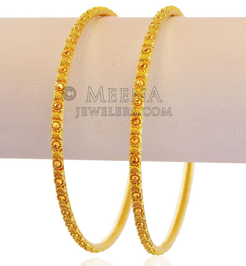 Designer 22K Gold Filigree Bangles - BaGo18063 - 22k gold ...