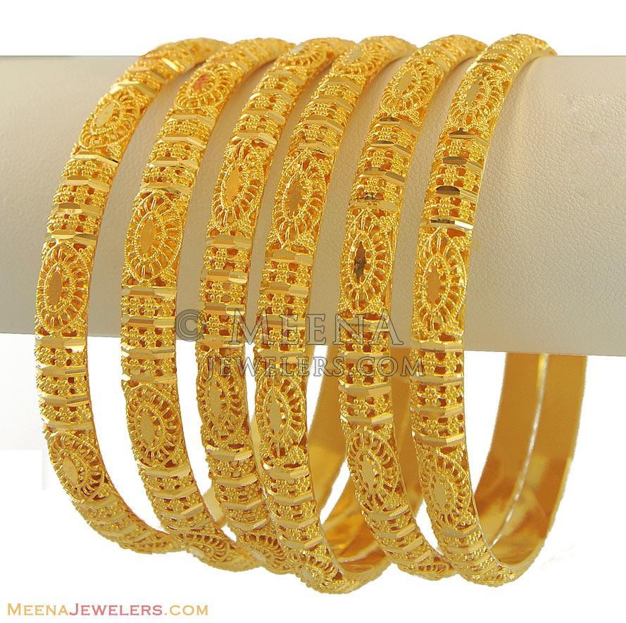 22k Gold Bangles Set - BaGo10986 - 22K Gold Indian bangles ...