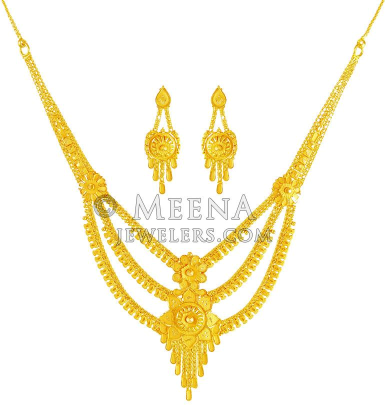 Gold Necklace And Earrings Set 22kt Indian Jewelry With: 22Kt Gold Necklace Earring Set