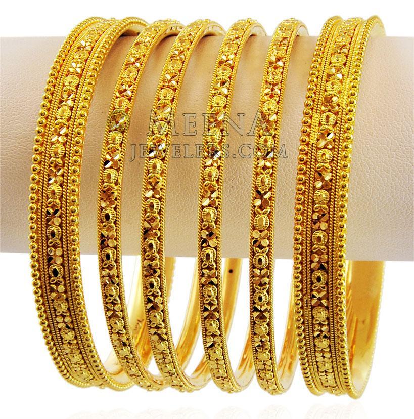 Indian Bangles Set 22K Gold - bast17322 - 22K Gold Bangles ...