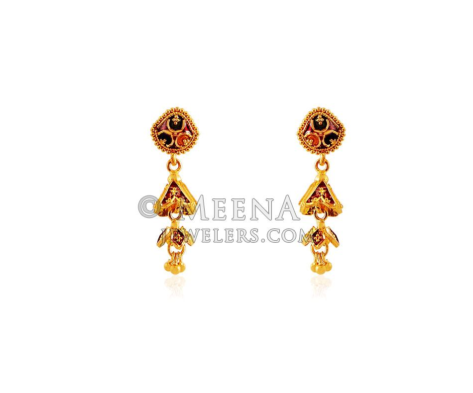 22k gold earrings india 22k indian meenakari earrings ergt18146 22kt gold 4556