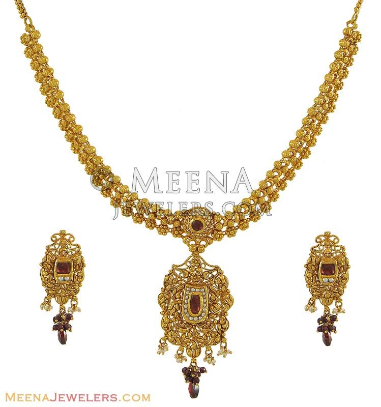 Gold Necklace And Earrings Set 22kt Indian Jewelry With: 22Kt Gold Indian Necklace Set