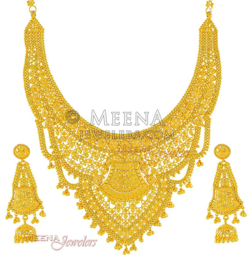 Gold Necklace And Earrings Set 22kt Indian Jewelry With: 22Kt Gold Necklace Set