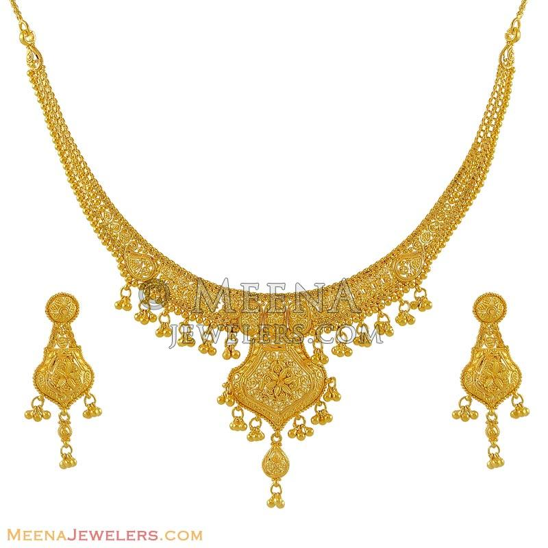 Gold Necklace And Earrings Set 22kt Indian Jewelry With: 22k Gold Necklace Earring