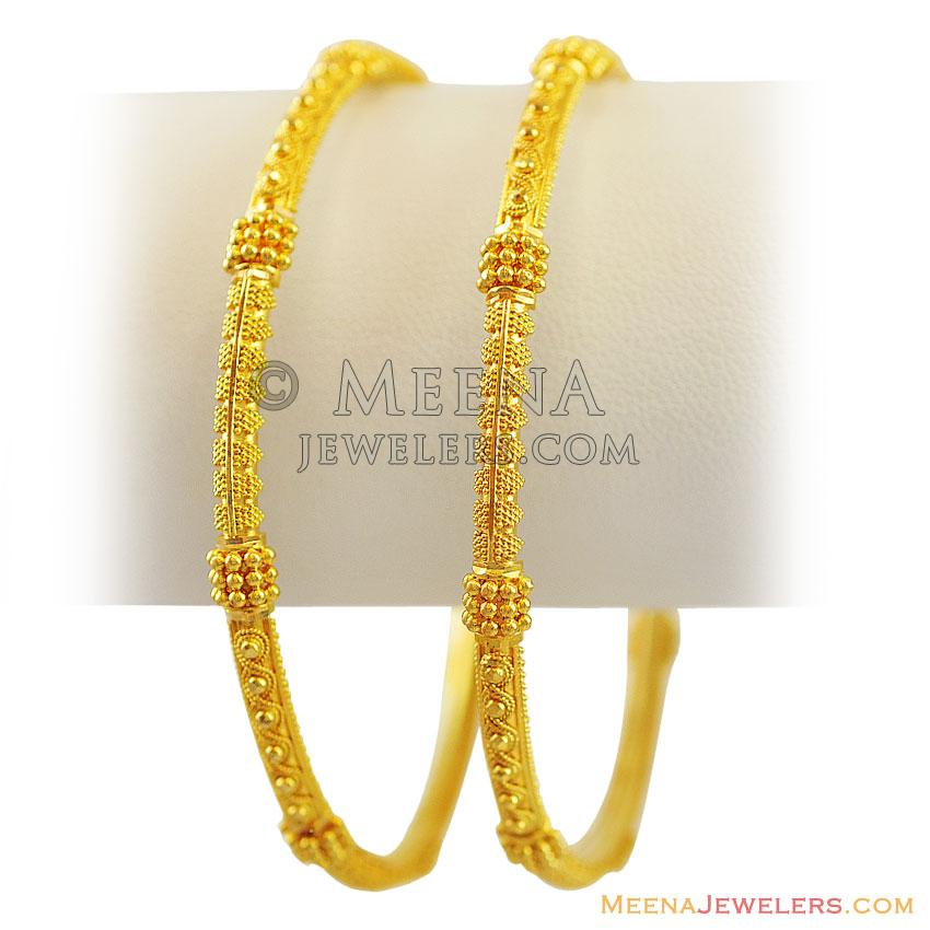 22k indian gold filigree bangles bago12123 22k gold 89478