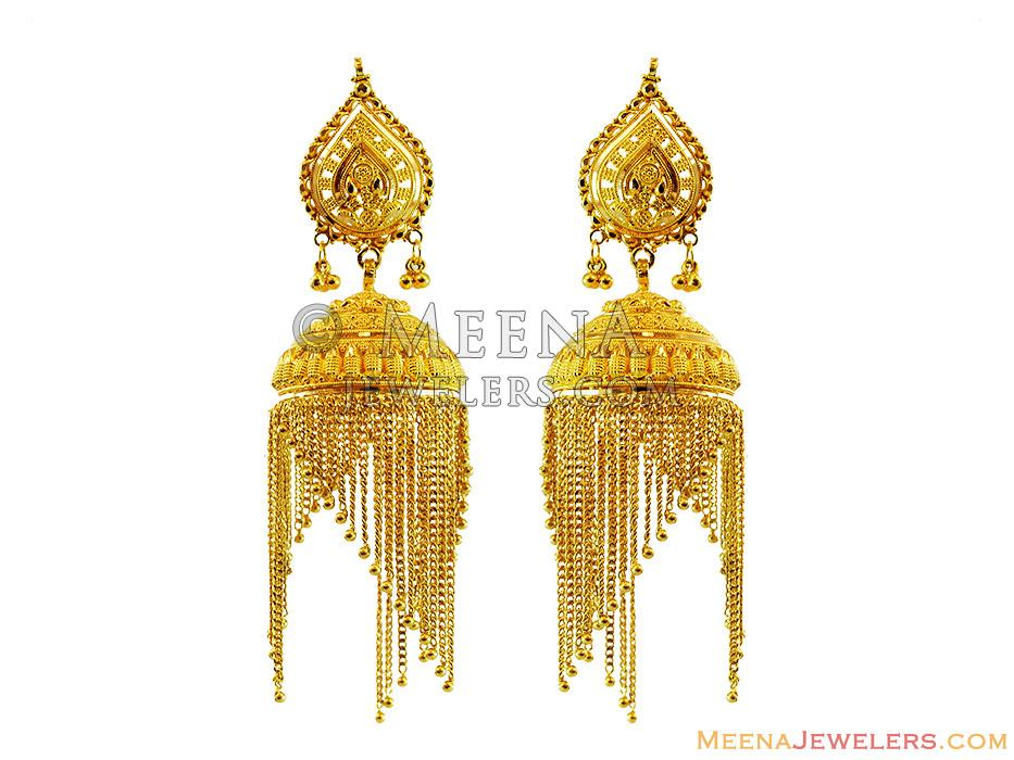 22k Designer Jhumka Earrings Erfc13443 22k Designer