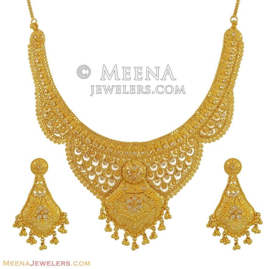 Gold Necklace And Earrings Set 22kt Indian Jewelry With: 22kt Polki Gold Set