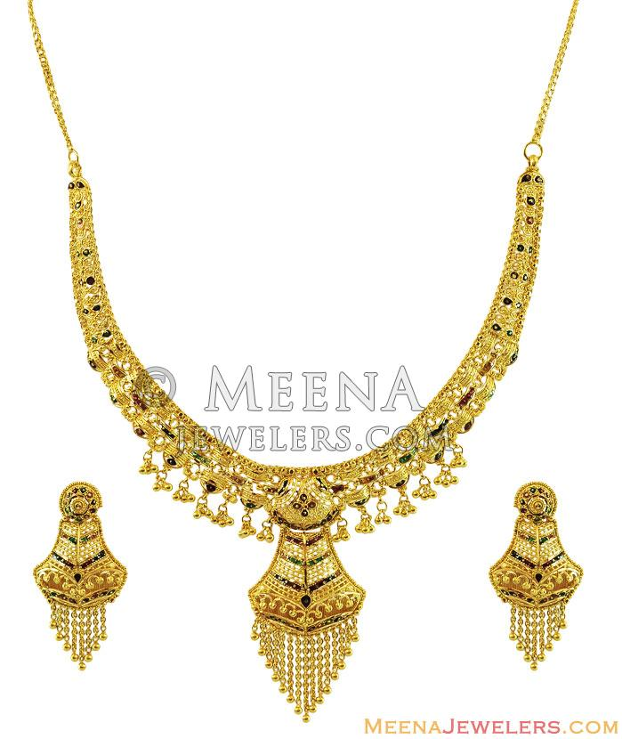 Gold Necklace And Earrings Set 22kt Indian Jewelry With: 22K Fancy Meenakari Necklace Set