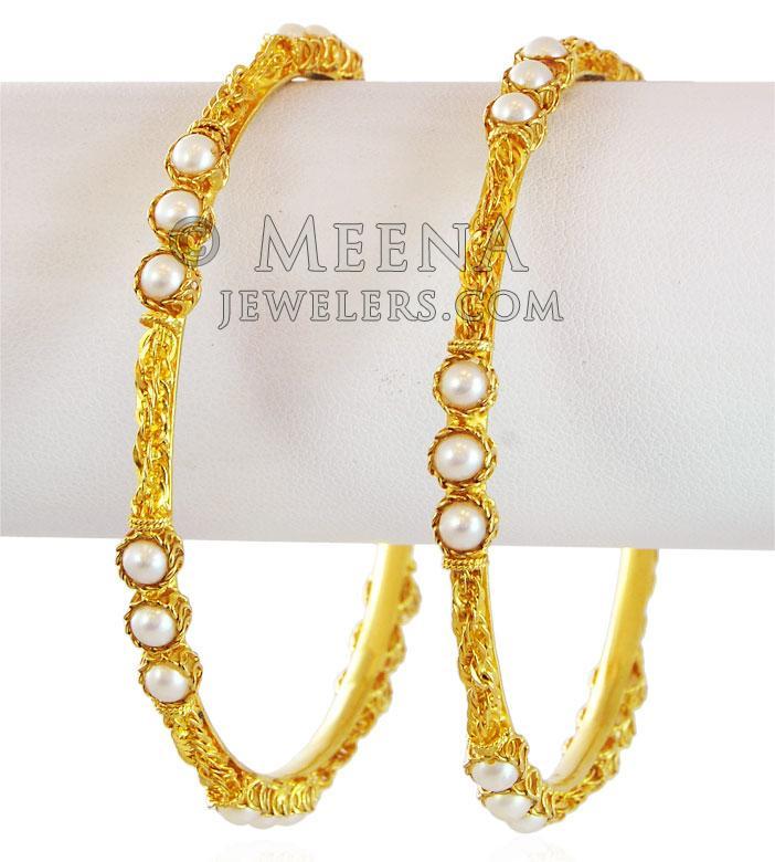 22K Gold Bangles Pair - BaSt17550 - 22K Gold fancy gold bangles ...