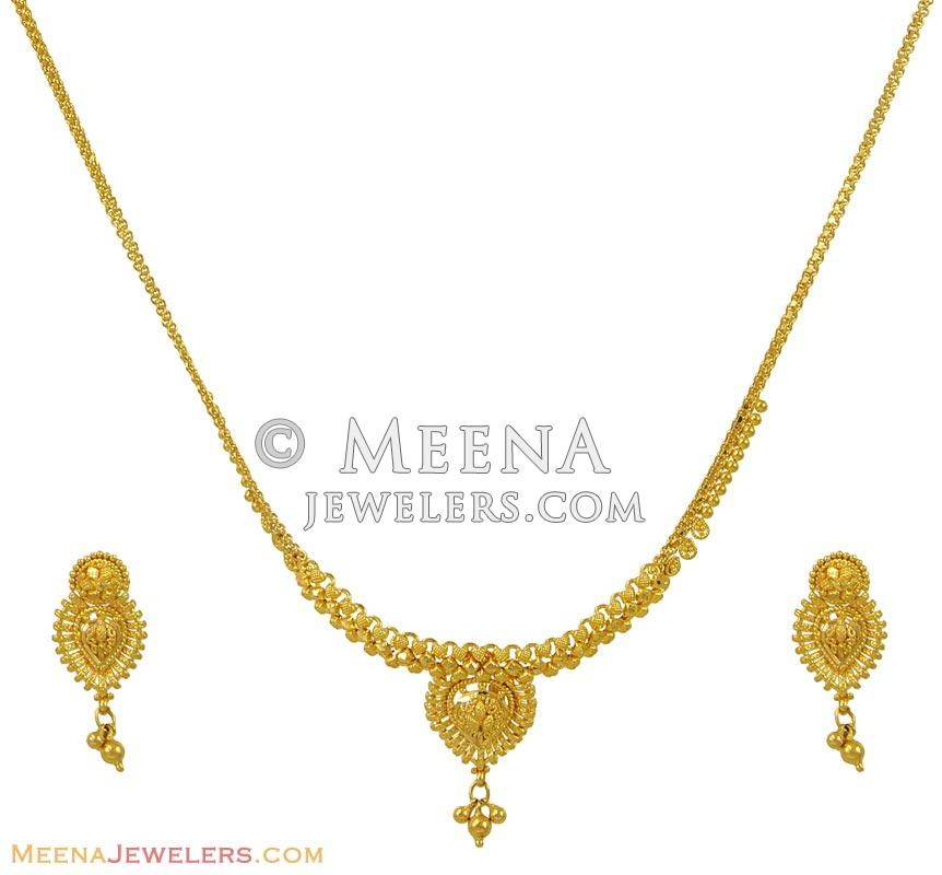 Gold Necklace And Earrings Set 22kt Indian Jewelry With: 22K Light Weight Gold